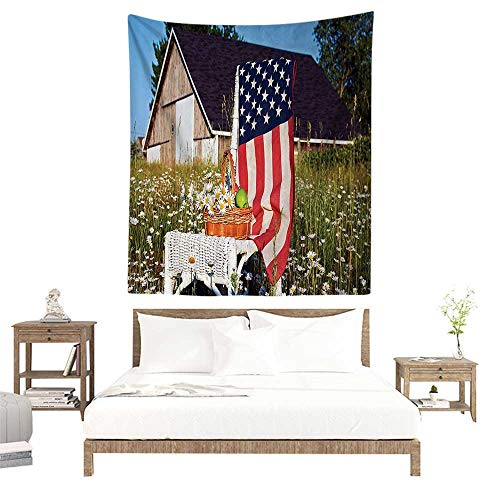 - Wall Tapestries Hippie,Americana Decor Collection,Green Apples and Daisies on Chair with USA Flag Bouquet Countryside Summer Picture,Cobal W47 x L47 inch Tapestry Wallpaper Home Decor