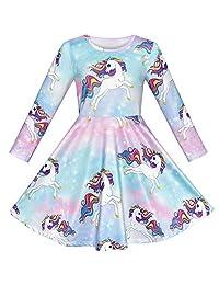 Sunny Fashion Girls Dress Unicorn Rainbow Long Sleeve Casual Dress Size 3-8