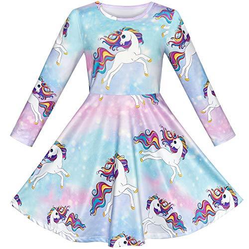 79e0042824f Sunny Fashion Robe Fille Licorne Arc-en- Manche Longue Tenue décontractée 3-8  Ans  Amazon.fr  Vêtements et accessoires