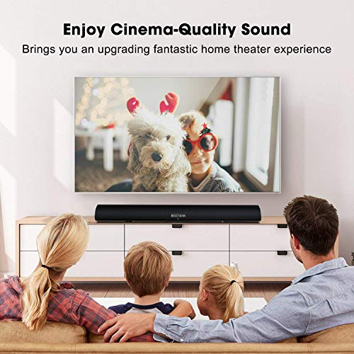 Sound Bar, Bestisan 80W Home Theater Soundbar System with IR Remote Function, Wired and Wireless Bluetooth 5.0 Audio Speaker (Treble/Bass Adjustable,34-Inch, 2019 Beef Up Version)