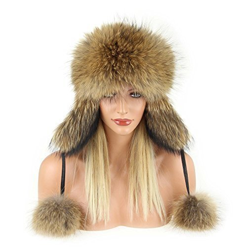Damen Pelzmütze Waschbär Raccoon Fellmütze FUCHS Leder MÜTZE Fliegermütze Wintermütze Skimütze Uschanka Hut Fox Naturtöne