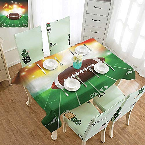 - DILITECK Waterproof Tablecloth Sports American Football Ball with Golden Properties on Grass Turf Field Team Art Graphic Table Decoration W50 xL80 Brown Green