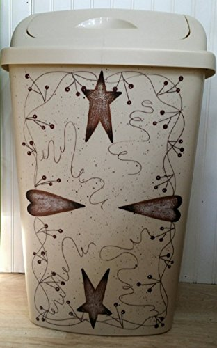 Primitive Country Decor Hand Painted Rusty Tin Stars and Hearts Kitchen Trash Can 13 Gallon Made in USA