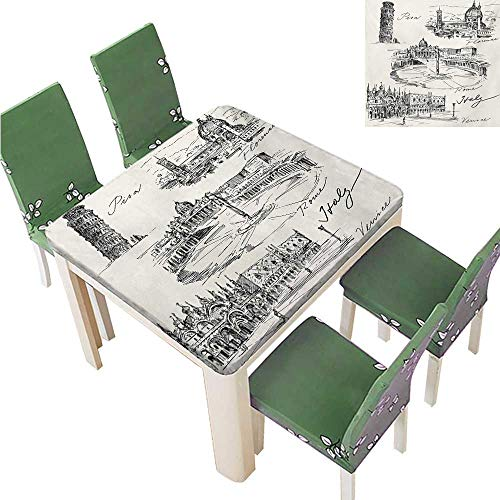 100% Polyester Luxury Tablecloth,Travel The World Themed Historical Italian Landmarks Venice Rome Florence Pisa Tablecloth Spillproof,37.5W x 76.5L Inches(Elastic Edge)