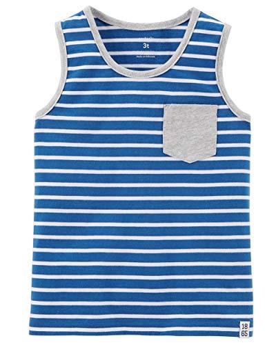 (Carter's Little Boys' Striped Jersey Tank, Blue/White Stripe, 4-Toddler )