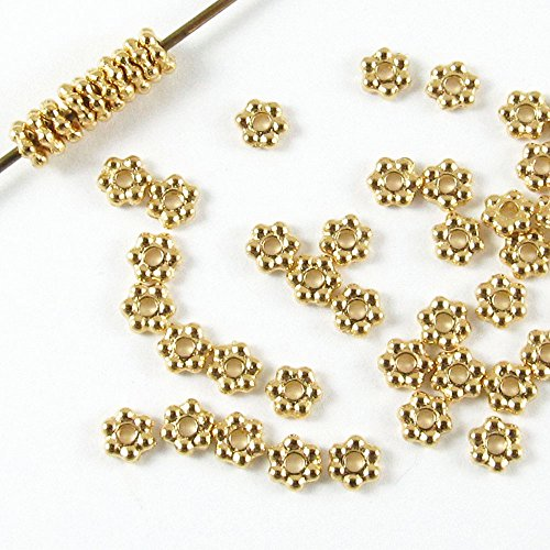 TierraCast Pewter Beads-BRIGHT GOLD DAISY SPACER 3mm (50) - Heishi Spacer Beads