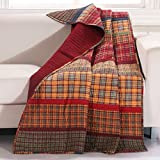 1 Piece 50x60 Red Orange Plaid Throw Blanket, Lodge Cabin Theme Bedding, Country Cottage Checkered Lumberjack Striped Pattern Madras Tartan Squares Stripes Rustic Quilted Southwest,Cotton