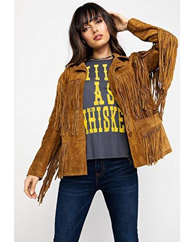- Liberty Wear Women's Fringe Leather Jacket Tobacco Medium