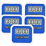 5 Pack Digital Kitchen Timer - Magnetic Countdown Up Minute Second Timer