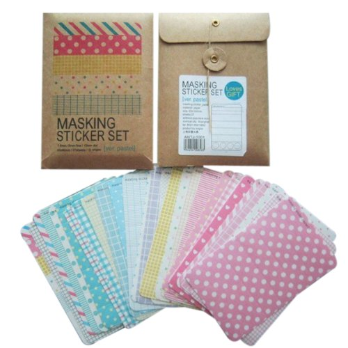 Wrapables Decorative Patterns Masking Sticker Set - (Stationary Stickers)