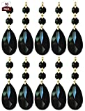 Royal Designs Replacement Chandelier Crystal Prism Black K9 Quality Tear Drop Almond Cut with Polished Brass Connectors and 2 Black Octogan Crystal Beads Pack of 10