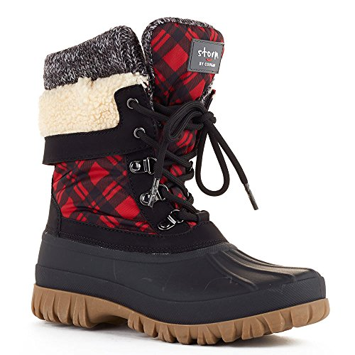 Botas Cougar Mujeres Creek Red Plaid Nylon