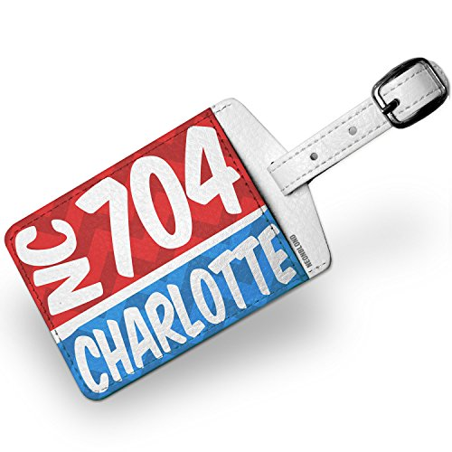 - Luggage Tag 704 Charlotte, NC red/blue - NEONBLOND