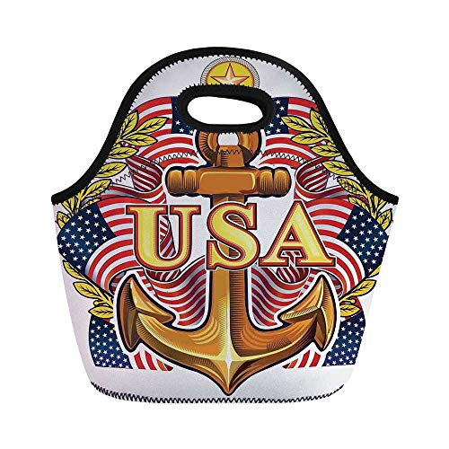(Anchor Durable Lunch Bag,Royal USA Anchor with American Flag Leaves and Star Force War Honor Medal Print for School Office,11.0