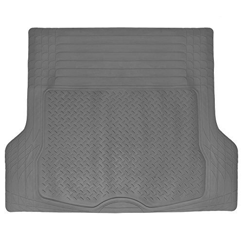 BDK Trimmable Heavy Duty Diamond Plate Cargo Trunk Mat Gray - Trim to Custom Fit for Car SUV VAN ()