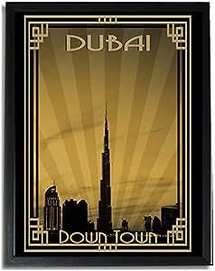 Dubai Skyline Down Town - Sepia With Gold Border F09-nm (a4) - Framed