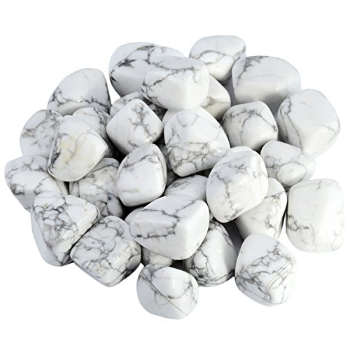 SUNYIK Tumbled Polished Stone,Smooth Rock Crystal for Tumbling,Cabbing,White Howlite Turqouise 1pound(about 460 gram)