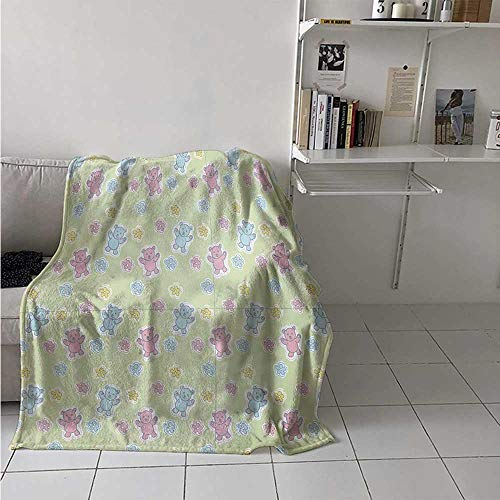 - maisi Nursery Digital Printing Blanket Baby Toy Drawing Pattern with Soft Colored Teddy Bears and Wildflowers Summer Quilt Comforter 62x60 Inch Pale Green Pink Blue