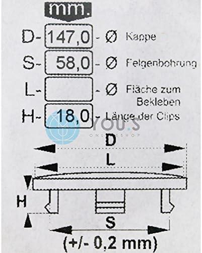 1 X Nabenkappe Nabendeckel Felgendeckel Grau Aussen 147 0 Mm Innen 58 0 Mm Auto
