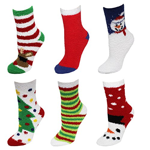 6 Pack Just One Women's Fuzzy Slipper Christmas Socks 9-11 (Snowmen/Reindeer)