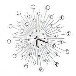 Zoternen 3D Crystal Wall Clock, Fashion Luxury Diamond-Studded Metal Wall Clock for Living Room Bedroom Decor