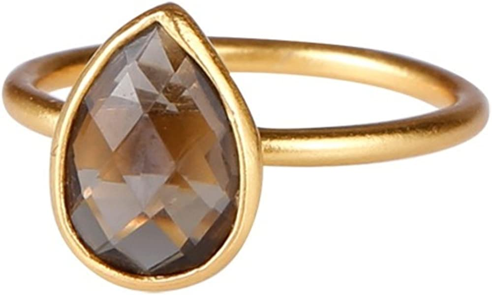 DV Jewels Classic Ring with a Drop-Shaped Setting of a Smoky Topaz