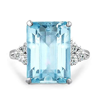 f16711ecf6cf9 Samie Collection Meghan Markle & Princess Diana 20ctw Emerald Cut  Aquamarine Color Cocktail Ring Inspired by Royal Wedding