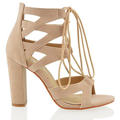 Essex Glam Donna Tacco A Spillo Scarpe Sandali Con Lacci Beige In Ecopelle Scamosciata