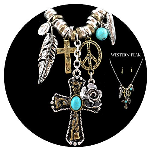 Western Peak Western Cross Rose Turquoise Rhinestone Gold Silver Charms Necklace with Earrings Set (Peace)