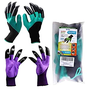 Eiito Garden genie gloves (2 pairs Green and purple), gardening gloves Left Right-8 claws easy to dig