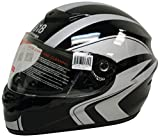 818 H330 Full Face Helmet (Black/Silver, X-Large)