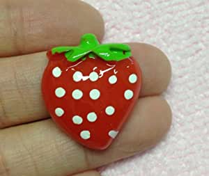 5pc Red Strawberry 20mm Flat Back Resins Cabochons Cellphone Case Decoration