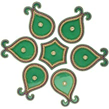 Diwali Floor Rangoli Design with Studded Stones & Sequins Traditional Festive Home Decorations (Green)