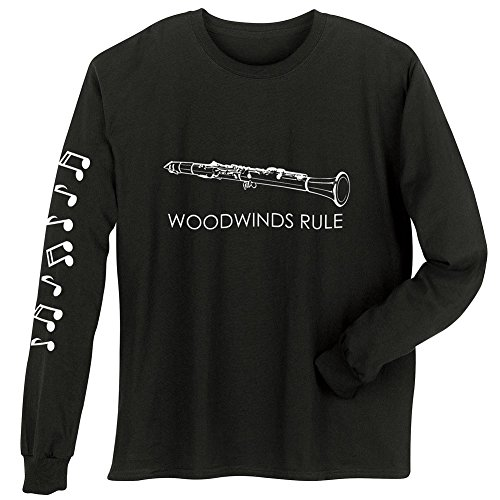 Unisex Adult Woodwinds Rule - Clarinet - Long Sleeve T-Shirt - XL (Virtuoso Clarinet)