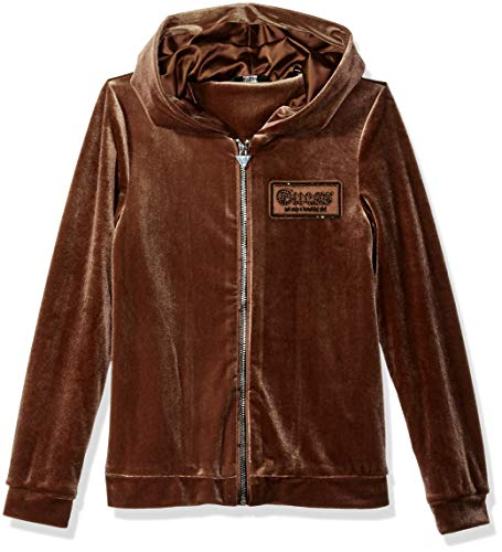 GUESS Girls' Big Long Sleeve Zip Up Velour Logo Hoodie, Rosy Brown, 12 (Guess Zip Up Jacket)