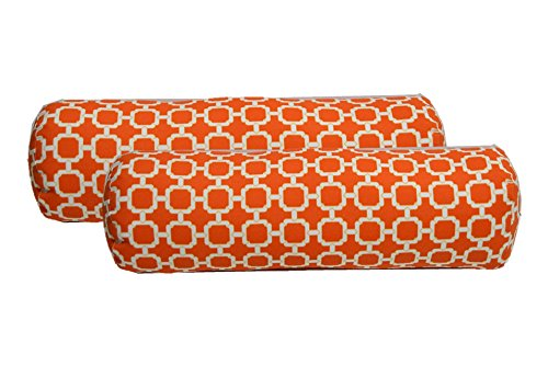 Set of 2 - Indoor / Outdoor Bolster / Neckroll Decorative Pillows - Orange and White Geometric Hockley Fabric