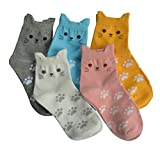 5 Pairs Women's Fun Socks Cute Cat Animals Funny Funky Novelty Cotton Gift (Cute Cat)
