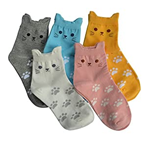 Jeasona Womens Cat Socks Cotton Cute Animals Funny Funky Novelty Gifts for Women