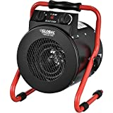 Portable Electric Garage Space Heater With Thermostat, 1500 watt, 120v, Red