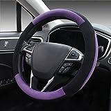 Image of SEG Direct Purple Plush Winter Auto Car Steering Wheel Cover Universal 15 inch
