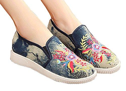Avacostume Femmes Occasionnels Broderie Douce Semelle Plate Slip-on Mocassins Sneakers Gris