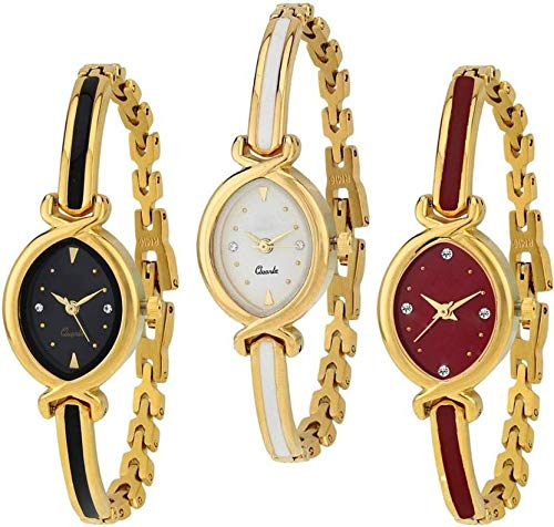 casera Analogue Girls' Watch (Multicolour Dial Assorted Colored Strap) (Pack of 3)