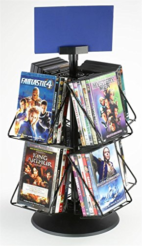"Rotating Display Rack With (8) Pockets For Countertop Use, 22"" Inches Tall, Black Wire With Plastic Base And Sign Clip"