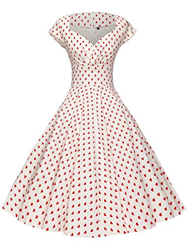 GownTown Womens Dresses Party Dresses 1950s Vintage Dresses Swing Stretchy Dresses Red Dot XX-Large]()