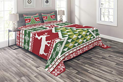 (Ambesonne Christmas Coverlet, Nordic Deer Noel Yuletide Tree Snowflakes Christmas Season Composition, 3 Piece Decorative Quilted Bedspread Set with 2 Pillow Shams, King Size, Green Vermilion)
