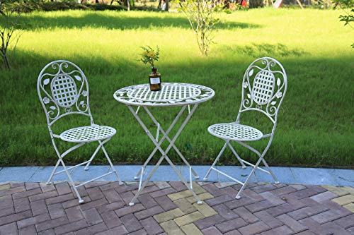 Aspect Julien French Style 3 Pieces Bistro Set,1 Metal Table and 2 Chairs-Antique White, 39.5 x94 Size: 70 Diameter x 75(H) cm (Garden Set Furniture Uk Bistro)