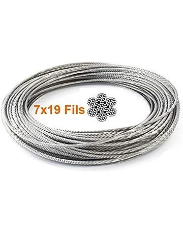 Seilwerk STANKE 80 m C/âble dAcier Acier Inoxydable 3 mm 7x7 Cordage en Acier Inoxydable Inox V4A A4