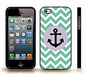 iStar Cases? iPhone 4 Case with Chevron Pattern Mint/ White Stripes Black Anchor , Snap-on Cover, Hard Carrying Case (Black)