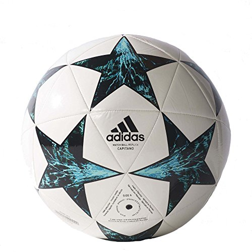 adidas Performance Champions League Finale Capitano Soccer Ball, White/Core Black/Dark Green/Blue/Aqua, Size 4