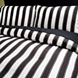 Sin in Linen Black and White Stripe Comforter, Full/Queen